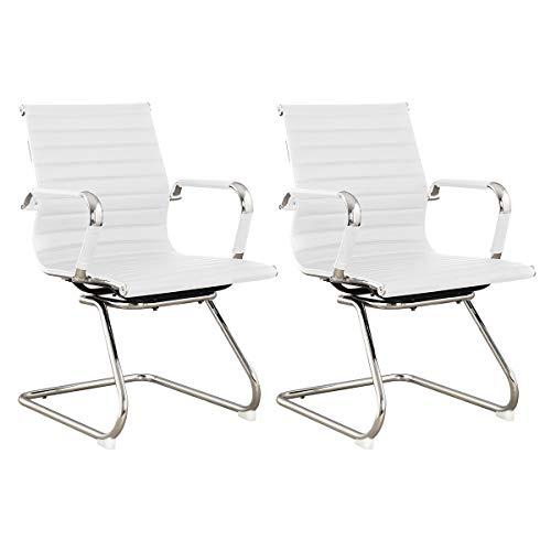 SVITA Elegance 2X Design Bürostuhl Chrom Rahmen Chefsessel Drehstuhl 2er Set Konferenz-Stuhl (weiß)