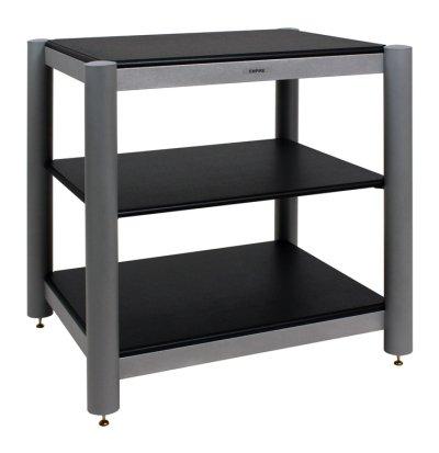 Empire EC-03 HiFi-Rack | Ausführungen: EC-03 BS | Farbe Rahmen/Rohre: Silber | Einlegebodendekor: schwarz lackiert