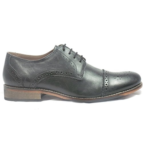 Lotus Black Leather Lace-Up Mens Brogue 8