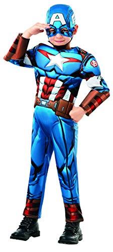 Halloweenia - Jungen Kinder Captain America Deluxe Kostüm aus Avengers Assemble mit Einteiler, Muskelpolster, Manschetten und Haube, perfekt für Karneval, Fasching und Fastnacht, 128-140, Blau