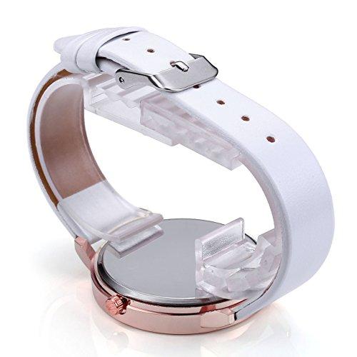JSDDE Uhren,3er Set Vintage Blumen Armbanduhr Basel-Stil Damen Uhr Weiss PU Lederarmband Rosegold Analog Quarzuhr - 5