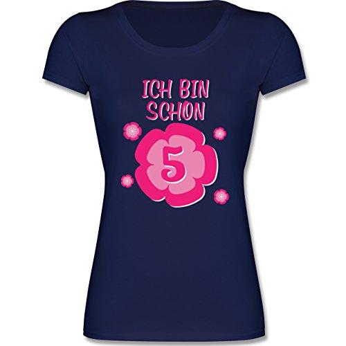 Shirtracer Geburtstag Kind - Ich Bin Schon 5 Blume - 116 (5-6 Jahre) - Dunkelblau - F288K - Mädchen T-Shirt (Blumen-kinder-t-shirt)