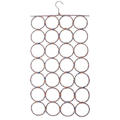 MagiDeal Multi Circle Schalhalter mit 9-28 Schlaufen zum Hängen , Schal Krawatten Tuch Organizer Storage Halter Rack , Gelegentliche Farbe - 28 Kreise