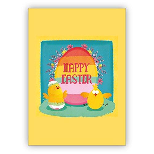 Conjunto de 4: Tarjeta de Pascua soleada con divertidos pollitos de Pascua: Happy Easter - tarjeta de felicitación de alta calidad con sobre