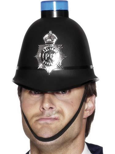 Halloweenia - Kostüm Accessoires Zubehör Englischer Bobby Polizeihelm Hut mit Abzeichen und blinkendem Blaulicht, perfekt für Karneval, Fasching und Fastnacht, Schwarz (Csi Kostüm Zubehör)