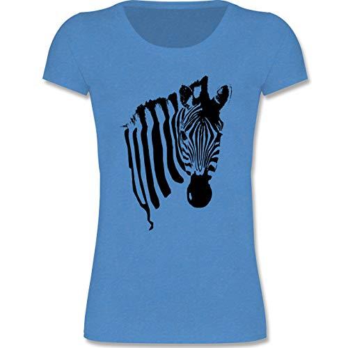 Tiermotive Kind - Zebra - 134-146 (9-11 Jahre) - Blau meliert - F288K - Mädchen T-Shirt