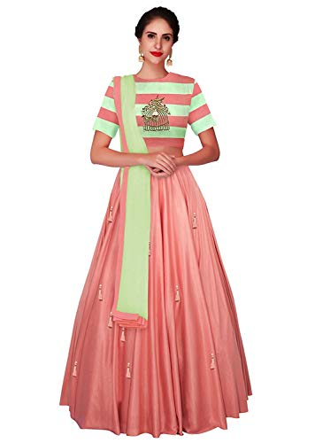 Ethnic Wings Women\'s Silk Dress Material (Ethnic M_ER10687_Peach-\