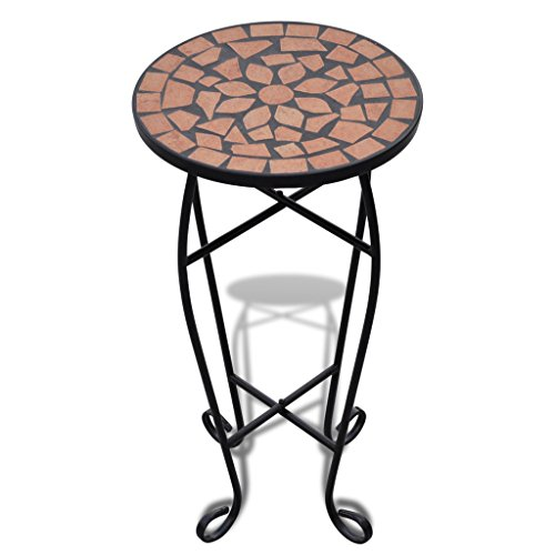 Kaka mall Mosaic Side Terracotta Table Plant Stand Holder for Indoor Outdoor Garden