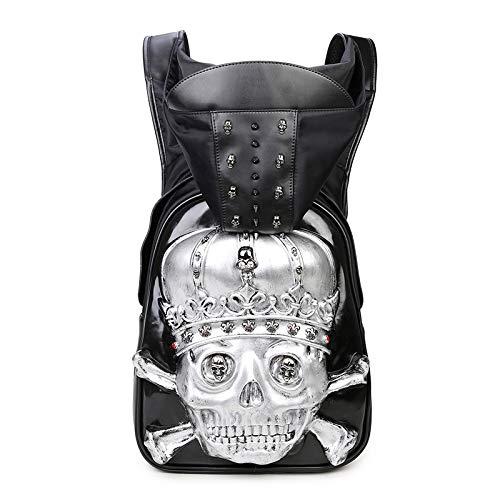 Insone Niet Punk Kleidung Tasche 3D Schädel Rucksack Schwarz Metall Rucksack für Teenager mit Hut Jungen Mädchen Rucksack Schulrucksack,silverskull