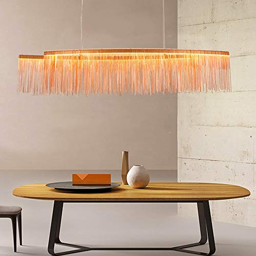 Hardworking bee Creative Square Quaste LED Kronleuchter Deckenleuchte Showroom/Esszimmer/Wohnzimmer Dekoratives Licht Dreifarbige Deckenleuchte Ändern Hoher Geschmack (Farbe : Rose Gold)