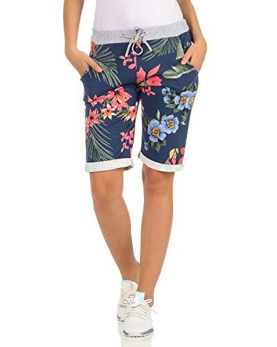 ZARMEXX Damen Shorts Capri Bermuda Boyfriend Sommerhose Sport All-Over Print One Size Muster 21 One Size (34-38)