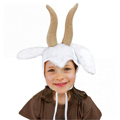 Krause & Sohn Kinder Mütze Ziege weiß Zicklein Tiermärchen Kopfbedeckung Ziegenbock Geißlein Fasching