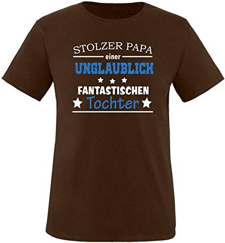 EZYshirt® Stolzer Papa einer unglaublich fantastischen Tochter Herren Rundhals T-Shirt Braun/ Weiß/ Blau