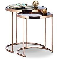 Juego de 2 mesas de Apoyo Redondas, con Marco Cromado y diseño Moderno. Mesas auxiliares de Vidrio escarchado, Metal y Cobre.
