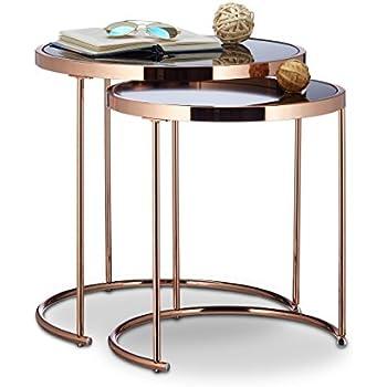 Relaxdays satztische rund chromgestell 2er set modernes for Designer couchtisch amazon