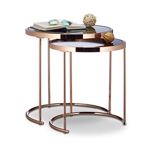 Relaxdays Satztische, verchromt, modernes Design-Schwarzglas, Couchtisch Metall, Kupfer 2er Set Beistelltisch rund Stahl, 50 x 50 x 51 cm -