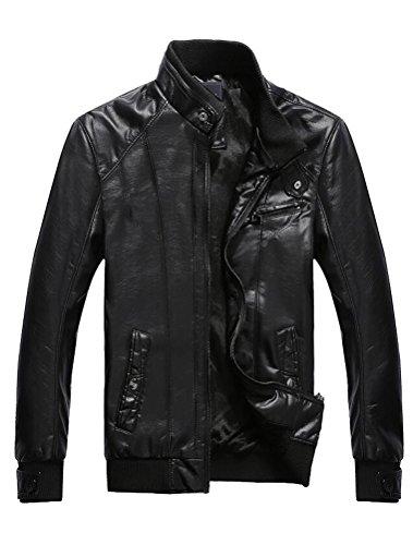 Vogstyle Hommes Veste Fit Basic Biker Cuir Style-3 Noir