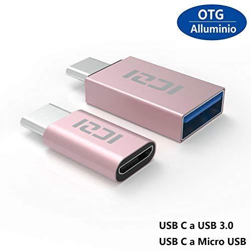 ICZI Adattatore USB C a Micro USB e Adattatore USB C a USB 3.0 Alluminio per Nexus Huawei LG G5/G6, Honor 8, Asus ZenFone 3, One Plus 2/3/3T, Nintendo Switch e Altri