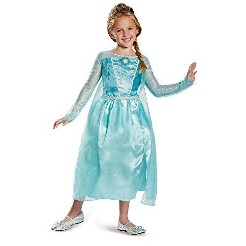 Frozen Prinzessin Elsa Mädchen Fasching Karneval Halloween Princess Kleid (122/128)