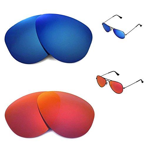 Walleva Polarisierte Fire Rot + Ice blau Ersatz-Objektive für Ray-Ban Aviator RB3044klein Metall 52mm Sonnenbrille