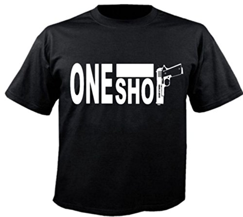 Motiv Fun T-Shirt One Shot 9mm Fight Gangster Waffe Spass Motiv Nr. 3584 Schwarz