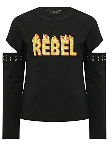 M&Co Teen Girl Cotton Rich Black Long Cut Out Sleeve Silver Eyelet Orange Sequin Rebel Slogan Sweat Top