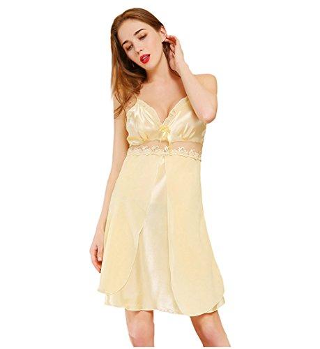 Hstyle Frauen Dessous Nachthemden Tiefen V-Ausschnitt Babydoll Chemise Kleid Nachtwäsche Gelb