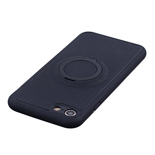Cover per iphone 8 plus 5.5, iphone 7 plus Rigida Case, Ekakashop 360°Protective Ultra Slim Hard PC Shell e Soft Silicone Gomma inner Cover Marmo Pattern Full Body Protettivo Cover Case Custodia per  Stent-Nero