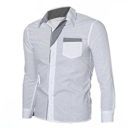 Maglia a maniche lunghe da uomo,sonnena camicia a maniche lunghe da uomo camicie alla moda slim fit casual a manica lunga di lusso da uomo personalizzare magliette blusa uomo (l, bianco)