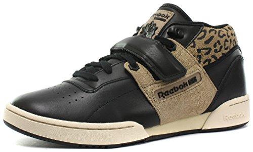 Reebok Classic Workout Mid Strap XE Homme Baskets Sneakers Noir Cheetah/Black/Canvas/Wht