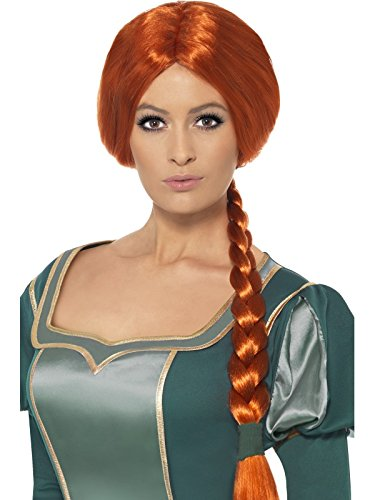 Original Lizenz Shrek Fionaperücke Perücke Fiona Kostüm Dreamworks orange Langhaar mit Zopf