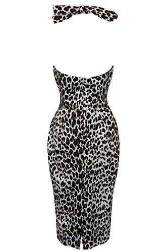 Neu Damen Retro Vintage 1940er Neckholder Enganliegend Wiggle-dress  Tiermuster Cheeta Aufdruck ...