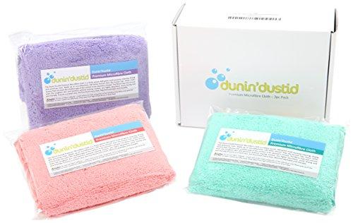 Dunin'Dustid - Confezione da 3 panni in microfibra per casa/auto - super assorbenti, multiuso - finitura priva di graffi, pelucchi o segni - senza prodotti chimici - 30,5 x 30,5 cm