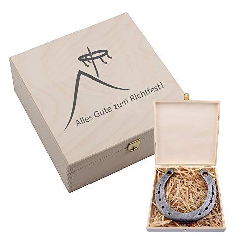 Hufeisen (4you Design Hufeisen-Box mit Motiv Alles Gute zum Richtfest (Hausdach und Richtkranz) - Geschenkidee zum Hausbau - Glücksgeschenk)