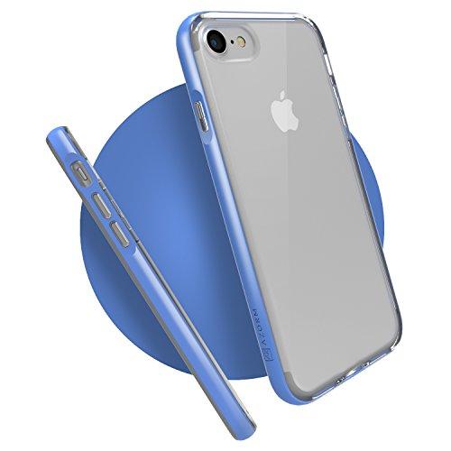 Azorm Handyhülle für iPhone 7 (4,7 Zoll) Hybrid Edition Smartphone Hülle, Bumper Schutzhülle Anti-Rutsch und Kratzfest, Silikon Rückseite Transparent - Gold (Metalleffekt) Hybrid Edition - Blau