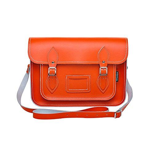Zatchels Mag Dots - Sac cartable en cuir (Fabrication britannique à la main) - Femme Orange
