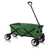 SAMAX Coaster Wagon Garden Trolley Beach Foldable Hand Cart Trolley Offroad - Green - different variations (without cool bag)