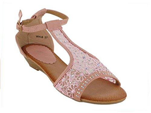 XINJING-S Frauen Diamante Spitze Party Abend Hochzeit niedrige Wedge Sandalen Schuhe Damen Größe Rosa