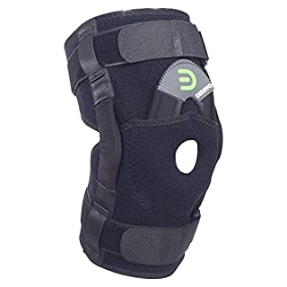 DISUPPO Hinged Knee Brace Support with Frosted Surface, Adjustable Open Patella Stabilizer for Sports Trauma, Sprains, Arthritis, ACL, Meniscus Tears, Ligament Injuries (Black, XLarge)