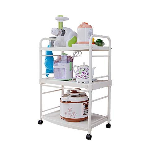 3-Tier-Mikrowelle Stand Lagerung Wagen mit Rad Küche Ofen Rack Warenkorb Workstation Regal (62 * 39 * 97 cm) (größe : 97cm) (Mikrowelle Stand Warenkorb)