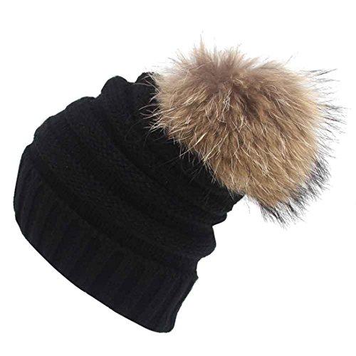 Culater® Unisex Slouchy Knitting Beanie di Hip Hop protezione calda del cappello Ski Inverno (Nero)