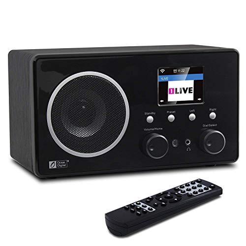 Ocean Digital WiFi Internet DAB Radio WR282CD FM/DAB+/Ricevitore Bluetooth Radio Digitale, 26,000 Stazioni, UPnP/DLNA, Aux In da 3.5mm, LCD da 2.4' e Telecomando Radio Sveglia e Tempo da Comodino