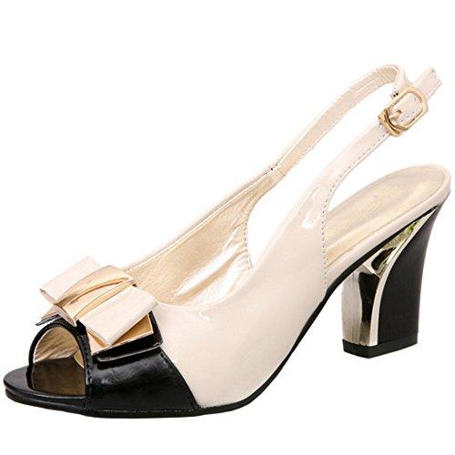 RizaBina Femmes Elegant Bloc Sandales Talons Hauts Peep Toe Slingback Chaussures De Bowknot Beige