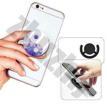ehbarer Ständer Multifunktionaler Smartphone-Halter Universal Telefon Finger hands Socket Halterung - yin-g yang(Lila Blumen) (Cute Iphone 4s Fall)