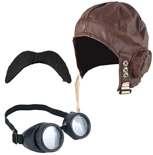 Style Wise Fashion Erwachsene Fliegerbrille Airman WW2 1940er Jahre Kostüm Zubehör Brille Hut Schnurrbart-Set Gr. Einheitsgröße, Aviator Pilot Accessory Kit (Aviator Hut Und Brille)