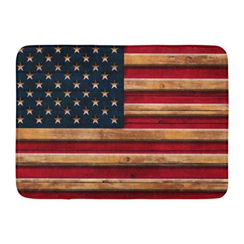 LIS HOME Bad Matte Amerika Vintage amerikanische Flagge Distressed Holz patriotische Badezimmer Dekor Teppich