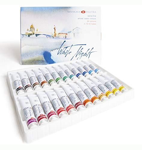 Honsell 11227 - Colori ad acquerello White Nights in tubetti da 10 ml, Multicolore, 24 pezzi