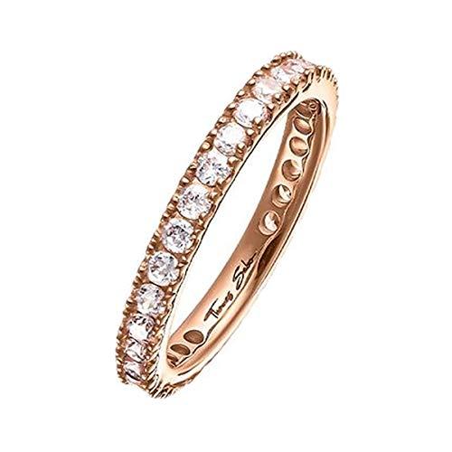 Thomas Sabo Damen-Ring 925er Silber, 750er Rotgold Zirkonia rosé, 54 (17.2)