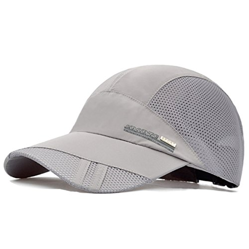 GADIEMENSS Quick Drying Breathable Running Outdoor Hat Cap Only 2 Ounces (Gray) (Cotton Cycling Cap)