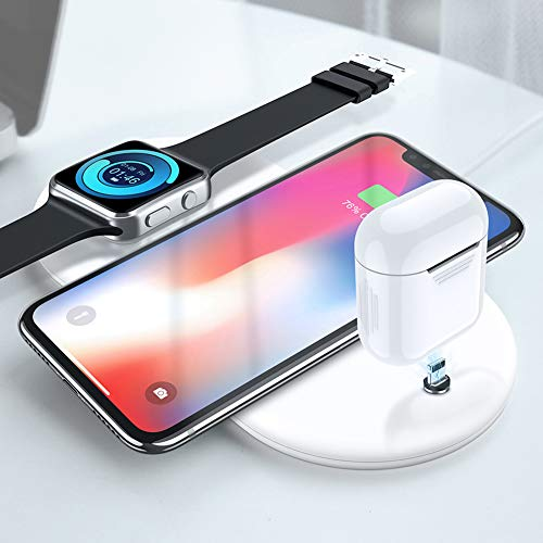 chlliacrow Magnetic Handy Wireless Charger Ladestation Ständer Halter Kompatibel Schnellladung Boost Up, 3 in 1 Magnetisch Drahtloses Ladegerät Telefon Qi Ladestation für iPhone AirPods iWatch White - Air Ipad Base Charge